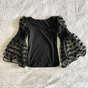 ANNE FONTAINE Black Floral Mesh Bell Sleeve Top